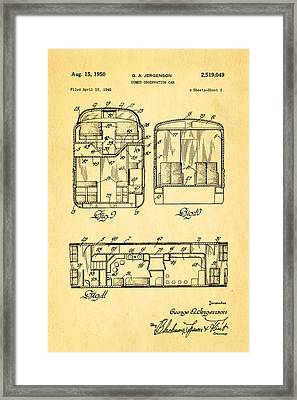 Jergenson Domed Observation Car Patent Art 1950 Framed Print
