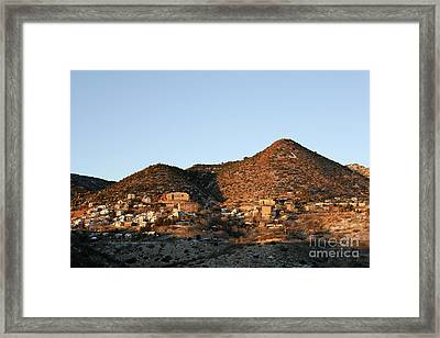 Framed Print featuring the photograph Jerome Arizona At Sunrise by Ron Chilston
