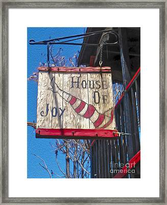 Jerome Arizona - House Of  Joy - Whorehouse Sign Framed Print
