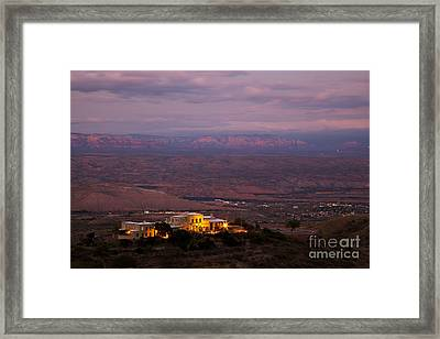 Jerome State Park With Red Rocks Of Sedona Arizona In Magic Light Framed Print