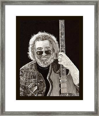 Jerry Garcia String Beard Guitar Framed Print