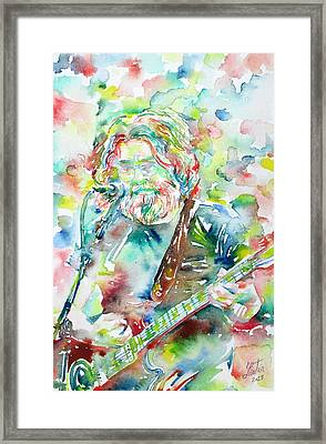 Jerry Garcia Playing The Guitar Watercolor Portrait.2 Framed Print by Fabrizio Cassetta