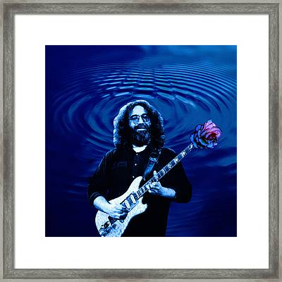 Blue Ripple Rose Framed Print
