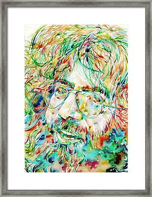 Jerry Garcia Watercolor Portrait.1 Framed Print by Fabrizio Cassetta