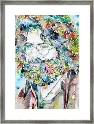 Jerry Garcia Watercolor Portrait.2 Framed Print by Fabrizio Cassetta