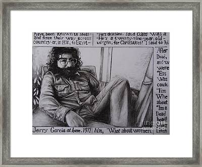 Jerry Garcia....taken From Rollingstone Interview 1972 Framed Print