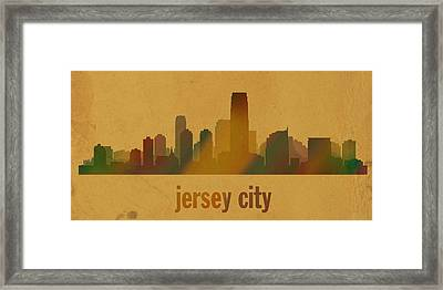 Jersey City New Jersey City Skyline Watercolor On Parchment Framed Print by Design Turnpike