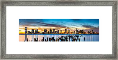 Jersey City Panorama At Sunset Framed Print