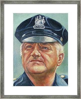 Framed Print featuring the painting Jersey City Policeman by Melinda Saminski