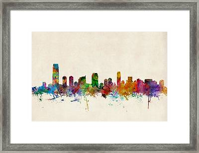 Jersey City Skyline Framed Print by Michael Tompsett