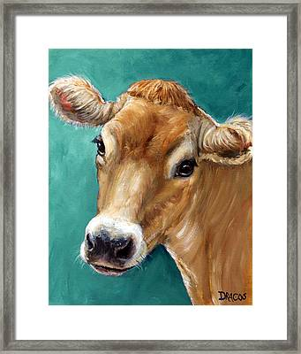 Jersey Cow Tan On Teal Framed Print by Dottie Dracos