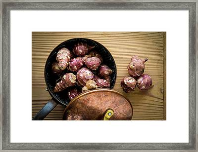 Jerusalem Artichokes In Saucepan Framed Print
