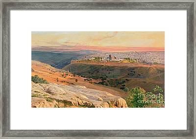 Jerusalem From The Mount Of Olives Framed Print by Edward Lear