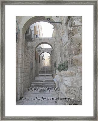Framed Print featuring the painting Jerusalem Street Scene For Rosh Hashanah by Linda Feinberg