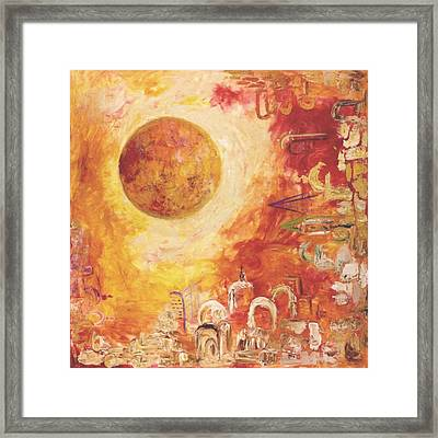 Jerusalem The Centrifugal Force Framed Print by Hanna Fluk
