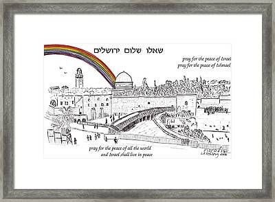 Jerusalem With Rainbow Framed Print