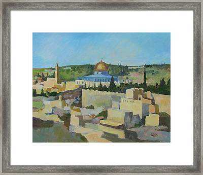 Framed Print featuring the painting Jeruselem Rooftops by Linda Novick