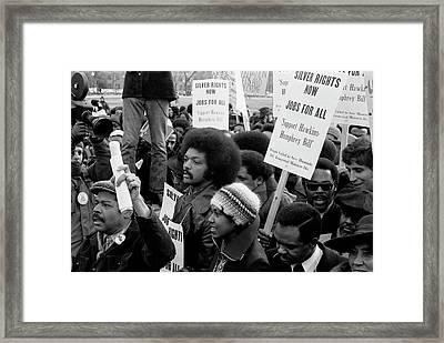 Jesse Jackson Surrounded By Marchers Framed Print