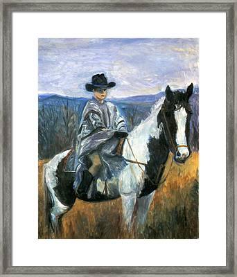 Jesse On Dakota Framed Print by Ethel Vrana