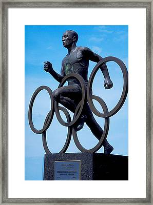 Jesse Owens Statue Framed Print by Carl Purcell