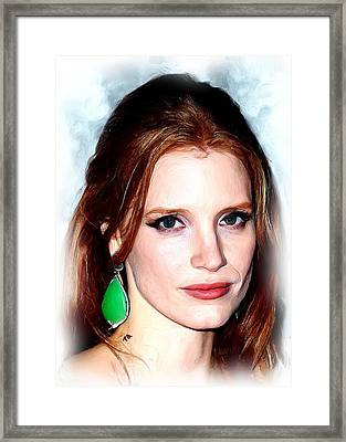 Jessica Chastain Framed Print by Paul Quarry