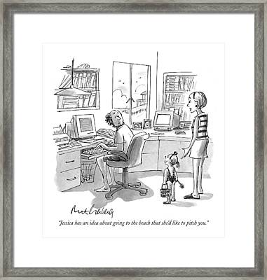 Jessica Has An Idea About Going To The Beach That Framed Print by Mort Gerberg