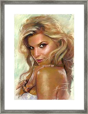 Jessica Simpson Framed Print by Viola El