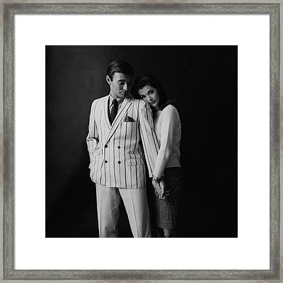 Jessica Walter Posing With A Male Model Framed Print by Leonard Nones
