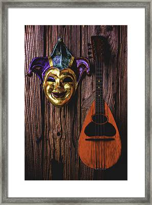 Jester Mask And Mandolin Framed Print by Garry Gay