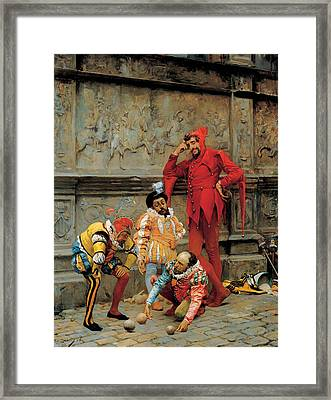 Jester Playing Cochonnet  Framed Print by Mountain Dreams
