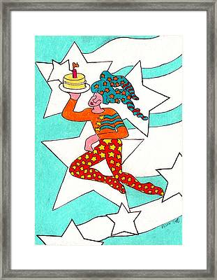 Jester With Cake Framed Print by Genevieve Esson