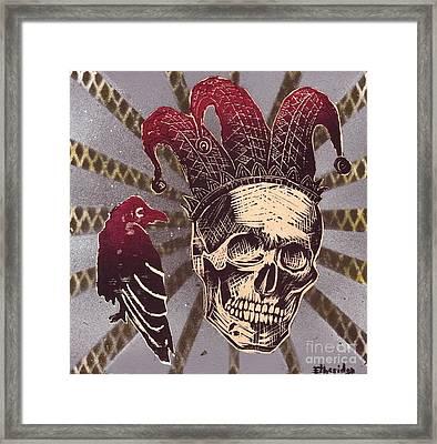 Jester With Raven Framed Print