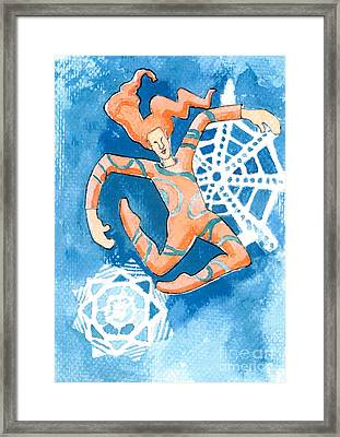 Jester With Snowflakes Framed Print by Genevieve Esson