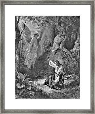 Jesus And Angel Bible Illustration Framed Print