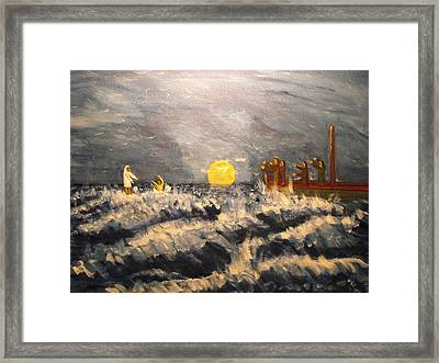 Jesus And Apostle Peter Walk On Water Framed Print