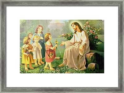Jesus And The Little Children Framed Print