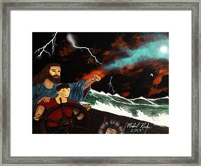 Framed Print featuring the painting Jesus And The Sailor by Michael Rucker