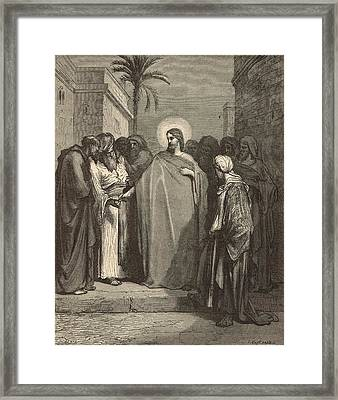 Jesus And The Tribute Money Framed Print by Antique Engravings