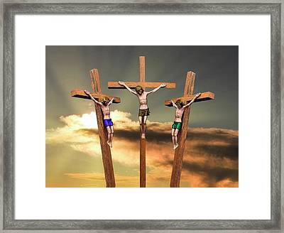 Jesus And The Two Thieves On The Cross Framed Print