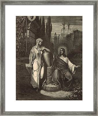 Jesus And The Woman Of Samaria Framed Print by Antique Engravings