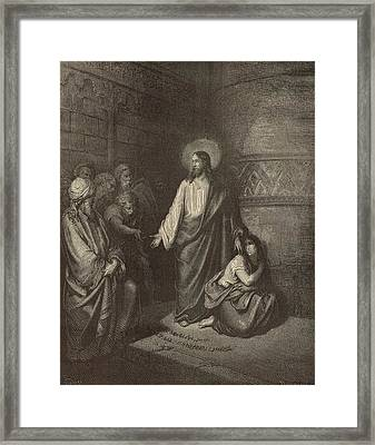 Jesus And The Woman Taken Into Adultery Framed Print by Antique Engravings