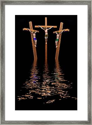 Jesus And Two Thieves On The Cross Framed Print by John Short