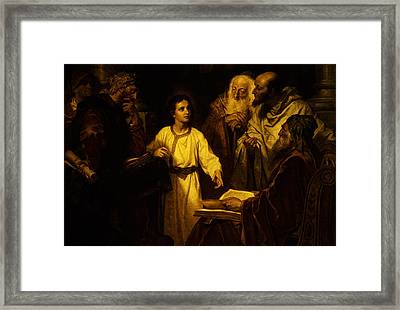 Framed Print featuring the digital art Jesus At Temple by Heinrich Hofmann