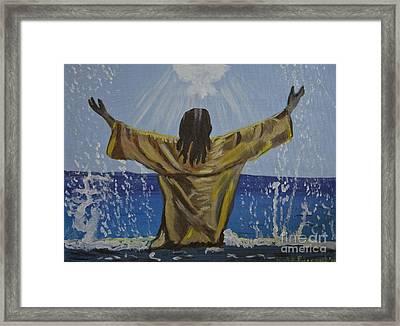 Jesus Baptism Framed Print by Kate Farrant