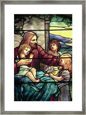 Jesus Blessing The Children In Stained Glass Framed Print