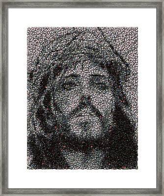 Jesus Bottle Cap Mosaic Framed Print by Paul Van Scott