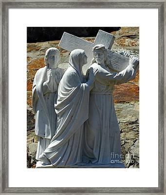 Jesus Carrying Cross Framed Print by Kathleen Struckle
