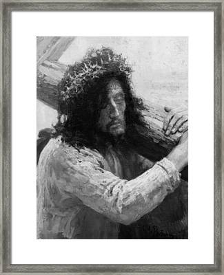 Jesus Carrying The Cross Circa 1898  Framed Print by Aged Pixel