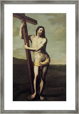 Jesus Christ And The Cross Framed Print