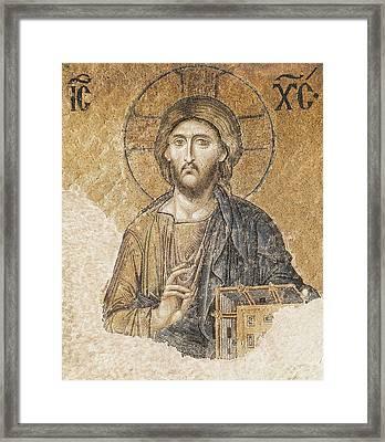 Jesus Christ Blessing. 11th C. Turkey Framed Print